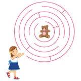 Flicka och Maze Vector Illustration Fotografering för Bildbyråer