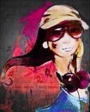 Flicka och musik Arkivfoto