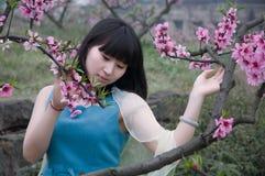 Flicka- och persikablomning i vår royaltyfri foto