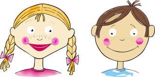 Flicka och pojke vektor illustrationer