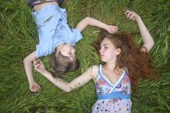 Flicka och pojke Arkivfoto