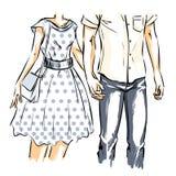 Flicka och pojke på ett datum vektor illustrationer