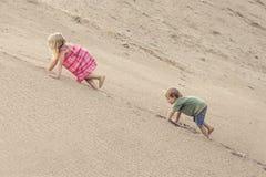 Flicka och pojke som klättrar på sanddyn field treen royaltyfri fotografi