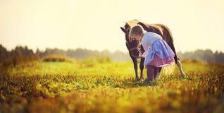 Flicka och ponnyer Royaltyfria Bilder