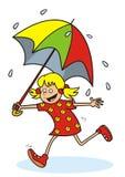 Flicka och regn Fotografering för Bildbyråer