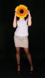 Flicka och solros Fotografering för Bildbyråer