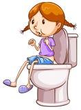 Flicka och toalett Royaltyfria Foton