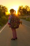 Flicka och valp på vägen Arkivfoto