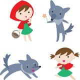 Flicka och varg stock illustrationer