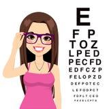 Flicka på ögonläkaren Arkivfoto
