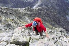 Flicka på överkanten av berget Arkivbild