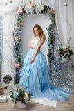 Flicka på bakgrunden av jullandskap Royaltyfri Fotografi