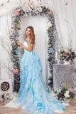 Flicka på bakgrunden av jullandskap Royaltyfri Bild
