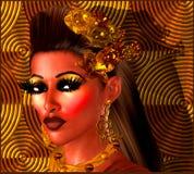 Flicka på brons, koppar och abstrakt bakgrund för brunt Royaltyfri Bild