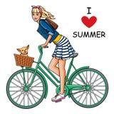 Flicka på cykeln Royaltyfri Fotografi