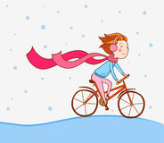 Flicka på cykeln, vinterbakgrund Royaltyfri Foto