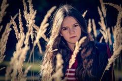 Flicka på en äng Fotografering för Bildbyråer