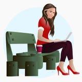 Flicka på en bänk i parkera på lunch som arbetar på en bärbar datorillustration EPS10 stock illustrationer