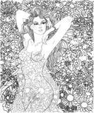 Flicka på en bakgrund av blommor stock illustrationer
