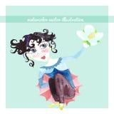 Flicka på en blå bakgrund med jasminvattenfärgen Vektor Illust Royaltyfria Foton