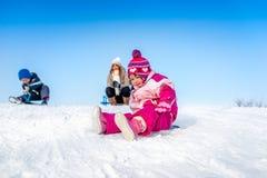 Flicka på en snö Arkivfoton