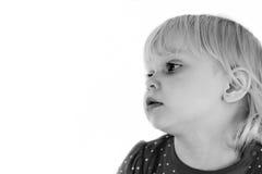 Flicka på en vitbakgrund arkivbild