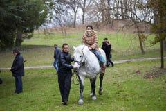 Flicka på hästen Arkivbilder