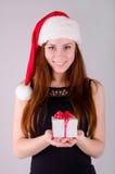 Flicka på jul Royaltyfria Foton