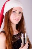 Flicka på jul Arkivbilder