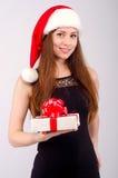 Flicka på jul Fotografering för Bildbyråer