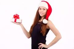 Flicka på jul Arkivbild