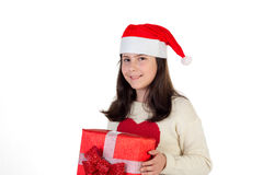Flicka på jul med gåvaaskar Royaltyfria Bilder