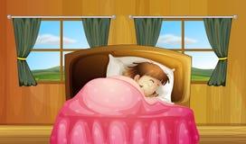 Flicka på säng stock illustrationer