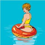 Flicka på simbassängen härligt kvinnabarn Arkivbilder