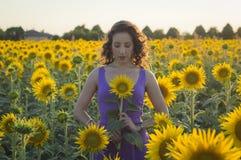 Flicka på solrosfältet Royaltyfria Foton