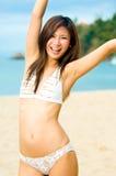 Flicka på strand Fotografering för Bildbyråer