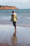 Flicka på strand Arkivfoton