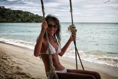 Flicka på stranden Arkivbild