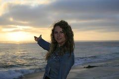 Flicka på stranden Arkivbilder