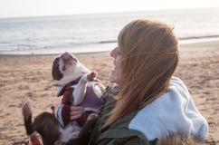 Flicka på stranden med Boston Terrier Arkivfoton