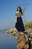 Flicka på stranden på journalerna Arkivbild