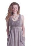 Flicka på vit bakgrund Royaltyfria Bilder