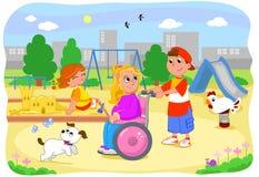 Flicka på rullstol med vänner Arkivbilder
