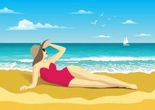 Flicka p? stranden Seascape med v?gor, molnig himmel och seagulls Yacht p? horisonten Turism och resande vektor illustrationer