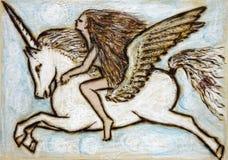 flicka pegasus royaltyfri illustrationer
