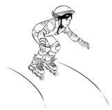 Flicka-rullen åker skridskor från kullen vektor illustrationer