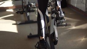 Flicka` s lägger benen på ryggen närbild Idrottskvinnan vänder pedalerna på en motionscykel i idrottshallen stock video