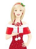flicka santa Arkivbild