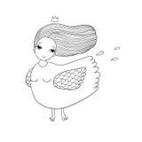 Flicka Sirin Mytologisk fågel Rysk folklore Fotografering för Bildbyråer