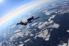 Flicka-skydiveren flyger i vinterhimlen royaltyfri bild
